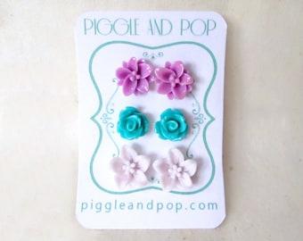 Flower Earrings Set in Lilac, Teal and Light Purple. Cute Stud Earring Set on Handmade Cards. Flower Cabochon Earrings w Hypoallergenic Post