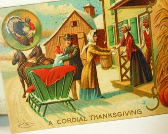 """Antique Thanksgiving Postcard """"A Cordial Thanksgiving"""" Turkey and Sleigh, M. W. Taggart"""