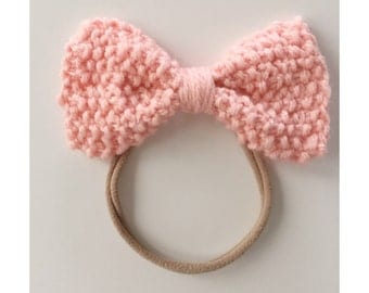 Knit Bow on Elastic band for Babies, Rose Quartz Knit Bow Headband