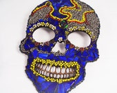 Day of the Dead, Mexican Art Skull, Wall Decor, Halloween Decor, Mosaic Day of the Dead Skull, Stained Glass Skull, Beaded Skull