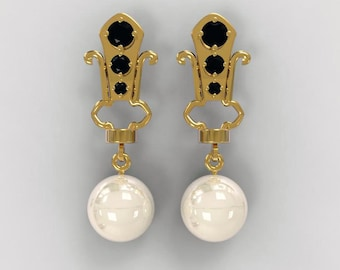 tuxedo pearl earrings