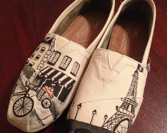 Paris France Themed Eiffel Tower Custom Painted TOMS Classic Womens Canvas Sneaker by Arts and Soles