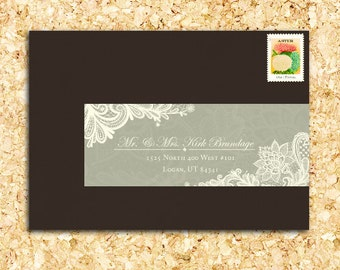 25 PRINTED Personalized Wraparound Mailing Address Labels - Lace, victorian, dainty, feminine, classic, traditional, edwardian