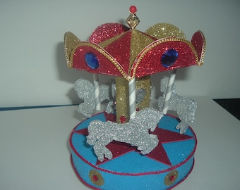 Red, Blue, Gold and Silver or Other Colors Carousel Cake topper or Party Centerpiece