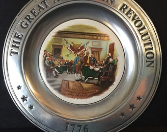 Vintage Plate Great American Revolution 1776 Pewter Porcelain Declaration of Independence Collectible History