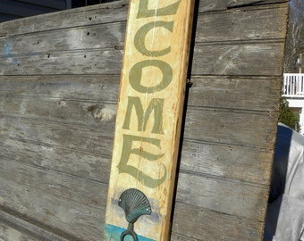 Welcome Beach   Sign, hand painted, original, wooden functional art ZM B6