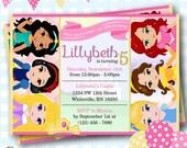 Princess Invitations, Disney Princess Invitations, Princess Party Invitations, Princess Birthday Invites, Birthday Invitations - #P34