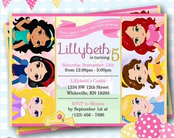 princess invitations disney princess invitations princess party invitations princess birthday invites birthday - Disney Princess Party Invitations