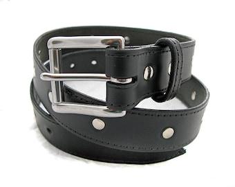 Handmade Black Leather Riveted Belt