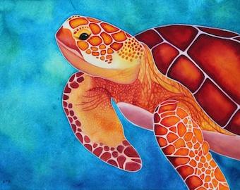 Watercolor Turtle Green Sea Turtle Art Sea Turtle Decor Sea Turtle Painting Sea Turtle Wall Art Sea Life Art Watercolor Art Print