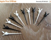 60% OFF Vintage Playboy Bunny Toothpicks Black and White Set of 10