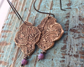 Paisley bronze earrings