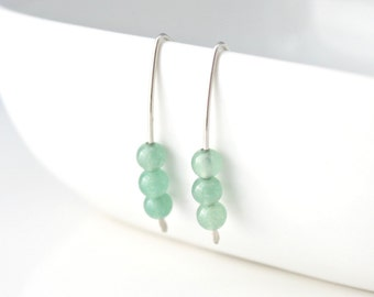 Sterling Silver and Aventurine Earrings / Spring Green / Minimalist / Modern Jewelry / Ready to Ship / Natural Stone Jewelry / E215
