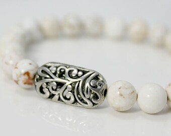 White Howlite and Silver Plated Stretch Bracelet / Gifts under 20