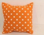 "17x17"" Orange and White Polka Dot Pillow Cover"