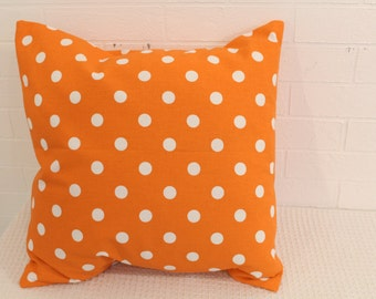 "17x17"" Orange and White Polka Dot Pillow Cover"