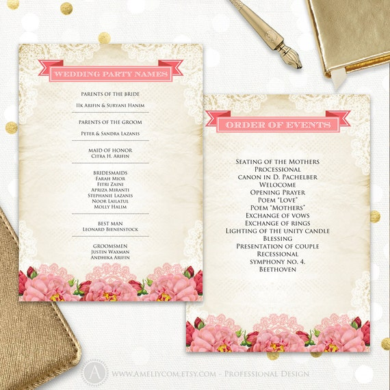 Wedding Order Of Events: Printable Wedding Party Names Order Of Events Rustic & Pink