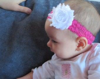 Hot Pink and White Baby Headband Size Newborn