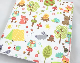 Camp Out Minky Blanket 28X30, Camp Themed Nursery, Camp Baby Blanket, Baby Blanket, Stroller Blanket, Minky Blanket, Forest Animals