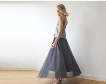Tulle maxi grey skirt, Maxi tulle grey skirt