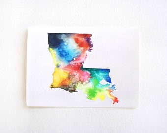 Louisiana Map Print, Watercolor Painting, Multiple Sizes, Colorful Watercolor Map Print