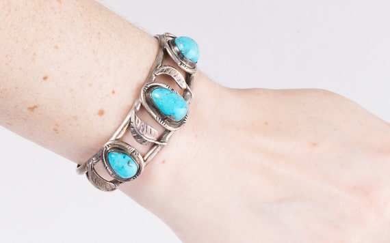 Vintage Turquoise Cuff - Vintage Navajo Sterling Silver and Turquoise Cuff Bracelet