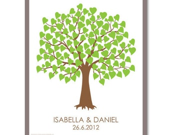 Wedding Guest Book Tree Personalized Print - Guest Book Tree Poster - 100 Signature Poster - Canvas or Paper - Free Gift with Purchase