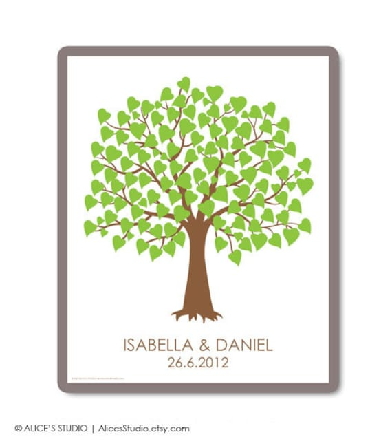 Wedding Guest Book Tree Personalized Print - Guest Book Tree Poster - 100 Signature Poster - Free Gift with Purchase