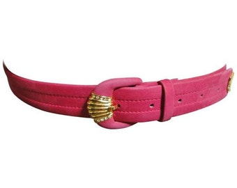 80's Vintage Christian Dior tropical pink suede leather belt with gold motif and crystal stones.  Mod and chic belt from Dior.