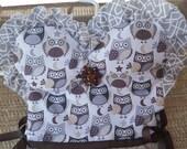 Owls Strapless Tan Ruffle Oven Door Kitchen Dish Towel Dress