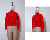 1950s red lambswool sweater | Vintage Jaeger 50s bow tie cardigan sweater