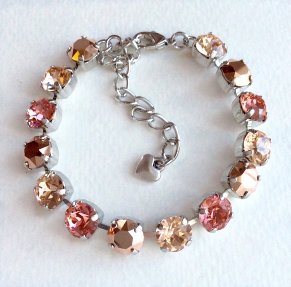 "Swarovski  Crystal 8.5mm Bracelet - ""Peach Kiss"" - Rose Gold, Peach Ombre Shades - Designer Inspired - Bridesmaid Gift - FREE SHIPPING"