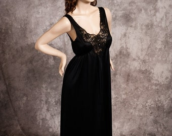 ON SALE Vintage Deena Nightgown Long Black Silky Nylon Rhinestones Lace Size Small