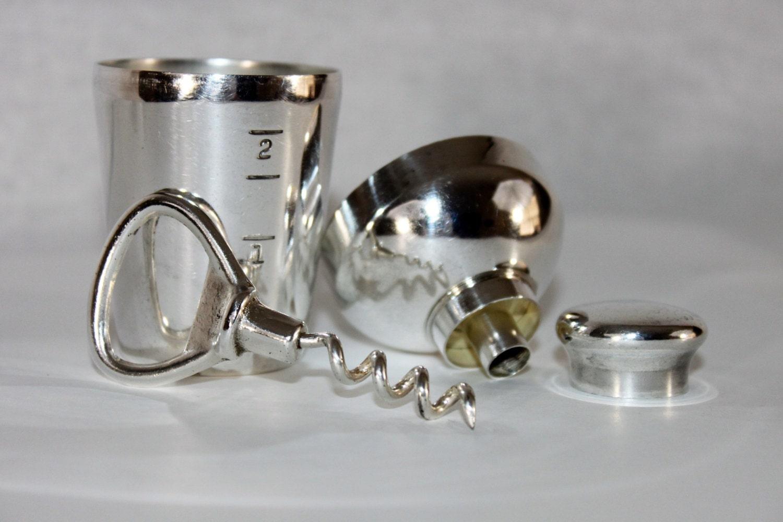 antique 1920s napier silver barware travel set corkscrew