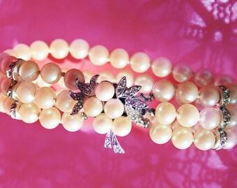 Vintage Faux Pearl Bracelet with Rhinestones Three Strand Bracelet