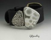 Reserved for Diane Black Leather Bracelet, Sterling Silver, Ocean Japser, Hollow form,  Metalsmith, Handmade Jewelry, Statement Bracelets