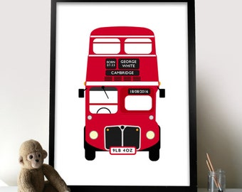 Personalised New Born Baby London Bus Print