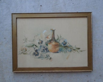 1915 Signed Water Color / Beautiful Pansy's !