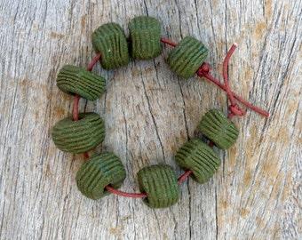Olive Green Beads , Artisan Rondelle  Beads ,Khaki Rondelles , Porcelain Beads , Ceramic Beads