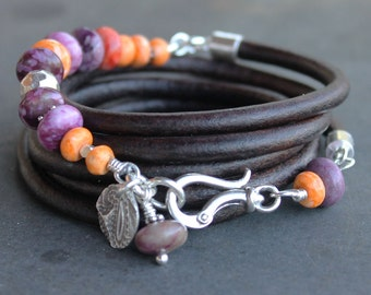 Beaded Leather Bracelet - Colorful Sundance style spiny oyster, sugilite, sterling silver, purple and orange, boho bracelet