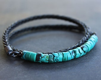 Mens Turquoise Bracelet - Rugged Turquoise braided leather bracelet, silver mens jewelry, fathers day gift for him, mens anniversary gift