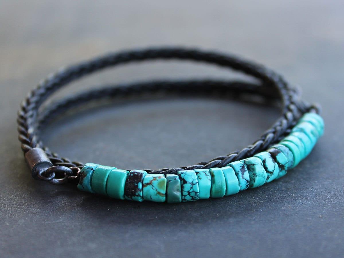Mens Turquoise Bracelet Rugged Turquoise Braided Leather