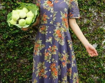 Vintage Dress/ 1980s Dress/ Vintage Japanese Dress/ Vintage Womens Dress/ Summer Dress/ Womens Dress/ Floral Dress/ 80s Dress/ Retro Dress