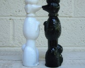Vintage AVON POODLE BOTTLES- Set of 2 Black & White Milk Glass Figurine Poodles