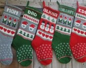 Christmas Stocking Medium Personalized Hand knitted Wool Gnomes Trees Deer Snowflake Santa Snowmen Gray Green Red White