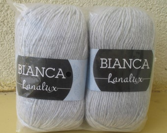SALE 50% Light gray tweed BIANCA LANA lux Wool  yarn for knitting 1 balls 100 g