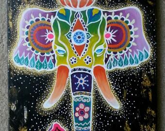 Original Painting Third Eye Chakra Elephant Surreal abstract.