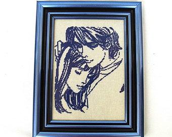 """Handmade gobelin Needlepoint tapestry """"In love"""" Desktop picture"""