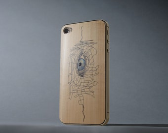 The Cartologist Print by Anna Shay iPhone 4/4s Real Maple Wood Skin - Made in the USA - FREE Shipping