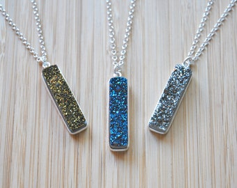 Druzy necklace, sterling silver, drusy pendant, druzy bar, long silver chain, genuine, crystal, raw, gemstone jewelry - all that glitters